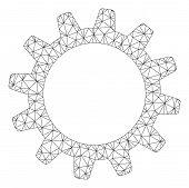 Mesh Cogwheel Polygonal Icon Vector Illustration. Model Is Based On Cogwheel Flat Icon. Triangular M poster