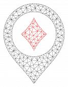 Mesh Casino Map Pointer Polygonal Symbol Vector Illustration. Abstraction Is Based On Casino Map Poi poster