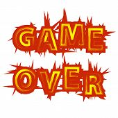 Red Yellow Game Over Sign On White Background. Gaming Concept. Video Game Screen. Typography Design  poster