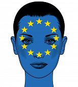 Portrait of a woman with the flag of the European Union painted on her face. Political concept Europ poster