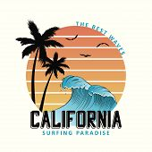 California Slogan For T-shirt Typography With Waves And Palm Trees. Surf Tee Shirt Design, Surfing A poster