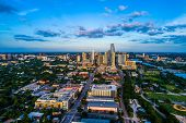 Austin Texas Sunset Blue Hour Aerial Drone View Of The Growing Cityscape Of The Capital City Of Texa poster
