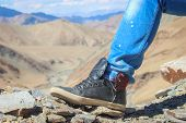 Hiker Leather Shoes Used On A Rocky Terrain In Ladakh poster