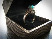 Blue Turquoise Ring Womens Ring. Closeup Of Silver Ring Decorated With Blue Turquoise Stone poster