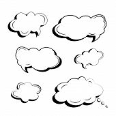 Set Of Black And White Icons Of Clouds And Explosions For Text And Slogans Made In The Style Of Comi poster