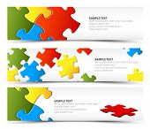 stock photo of jigsaw  - Set of puzzle horizontal banners  - JPG
