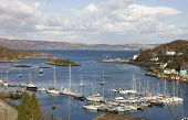 picture of bute  - Tarbert Scotland harbor with the Kintyre to Bute ferry arriving in the terminal - JPG