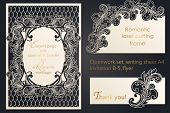 Openwork Blank Design For Laser Paper Cutting. Template Wedding Cards, Paper Lace Card, A Template F poster