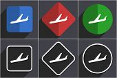 Arrivals set of flat design web icons in 6 options poster