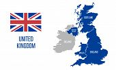 United Kingdom Map. England, Scotland, Wales, Northern Ireland. Vector Great Britain Map Wit Uk Flag poster