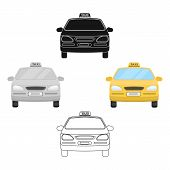 Yellow Taxi Car.transport Taxis For Passengers. Taxi Station Single Icon In Cartoon, Black Style Vec poster