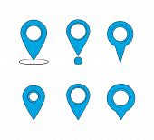 Set Of Map Pointers. Map Pointers Isolated On A White Background. Vector Illustration poster