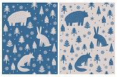 Bear, Hare And Fox Sitting Among Christmas Trees And Snow Flakes.abstract Hand Drawn Woodland Vector poster