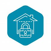 Locked Smart House Icon. Outline Locked Smart House Vector Icon For Web Design Isolated On White Bac poster