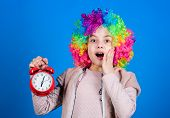 Kid Colorful Curly Wig Clown Style Hold Alarm Clock. I Am Not Joking About Discipline. False Alarm.  poster