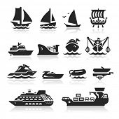 stock photo of passenger ship  - Boats and ships icons set - JPG