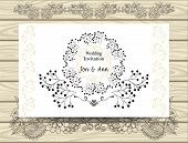 Template Elegant Wedding Invitation With  Borders Circles  Wreaths  From Branches For Greeting  Card poster