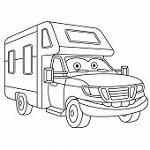 Coloring Page. Colouring Picture. Cute Cartoon House On Wheels. Rv (recreational Vehicle) Trailer. C poster