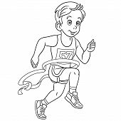 Colouring Page. Cute Cartoon Runner Who Wins Run Marathon At The Finish. Childish Design For Kids Co poster
