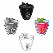 Transparent Mug With Strawberry Juice And Mint Leaves.vegetarian Sweet Drink For Vegetarians.vegetar poster