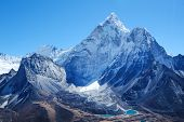 Snowy Mountains Peaks. Mountain Peak Everest. Highest Mountain In The World. National Park, Nepal. poster