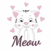 Happy Beautiful Kitty And Inscription Meow. Vector Illustration poster