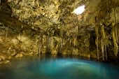 stock photo of cenote  - Image of the underground Dzitnup Cenote  - JPG