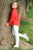 She Is Really Cute. Fashion Little Lady. Fashionable Child In Casual Fashion Style At Tree. Adorable poster
