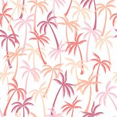 Coconut Palm Tree Pattern Textile Seamless Tropical Forest Background. Exotic Vector Swatch Repeatin poster