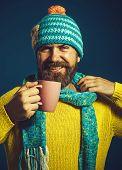 Enjoying Fresh Coffee. Happy Man In Casual Wear Drinks Hot Drink. Handsome Man Drinking Coffee. Coff poster