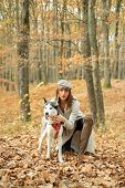 Girl Pretty Stylish Woman Walking With Husky Dog Autumn Forest. Pedigree Dog Concept. Best Friends.  poster