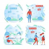 Set Working Weekdays, Written Summer And City. People Work In Summer In Big City. Men And Women Fini poster
