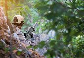 Fully Equipped Soldiers Wearing Camouflage Uniform Attacking Enemy, Airsoft Military Game Player In  poster