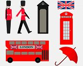 Vector Illustration London With British Symbols. London England Travel Collection. Welcome To The Uk poster