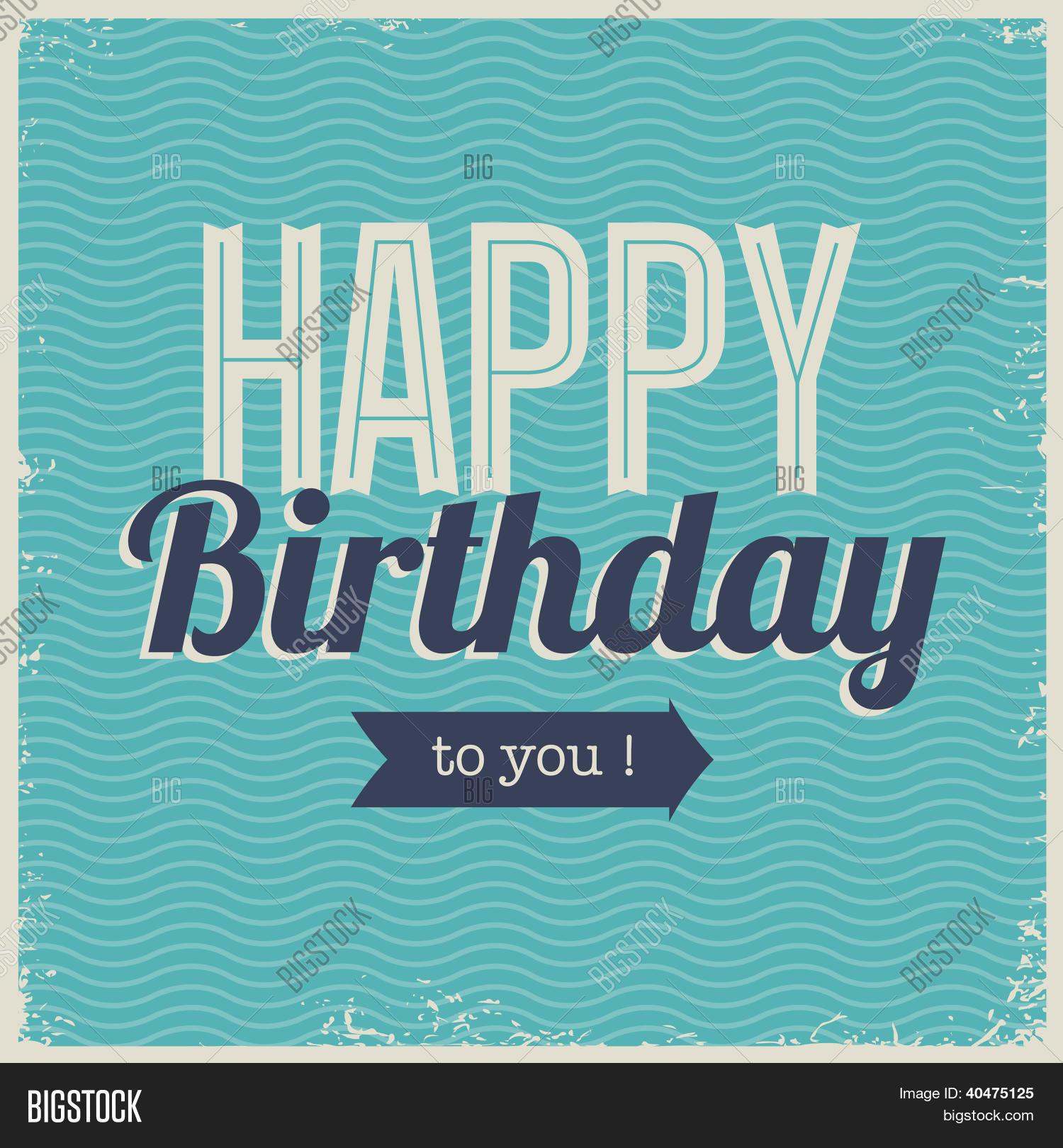 Vintage Retro Happy Birthday Card Vector Photo – Birthday Card Font