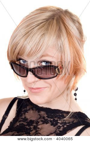 Portrait Of  The Blonde In Sunglasses. Isolated