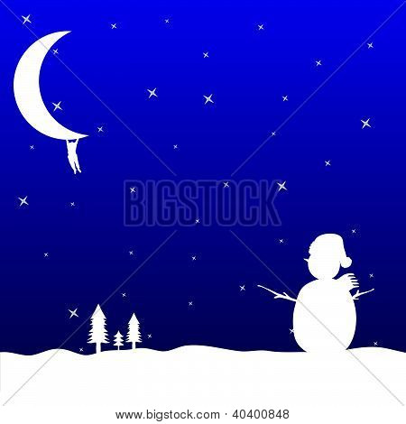 Man Hanging On The Moon And Snowman Vector Illustration
