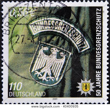 stamp printed in Germany shows Federal Border Police