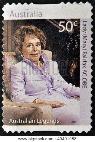 A stamp printed in Australia shows Lady Mary Fairfax AC OBE