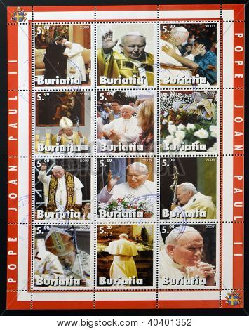 Collection stamps printed in Republic of Buryatia shows Pope John Paul II
