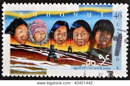 CANADA - CIRCA 1999: stamp printed in Canada shows Creation of the Nunavut Territory circa 1999