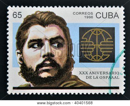 CUBA - CIRCA 1996: A stamp printed in Cuba shows Ernesto Che Guevara circa 1996