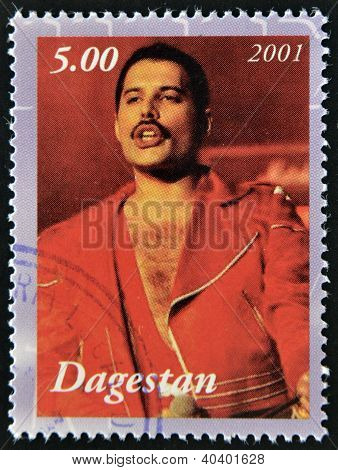 A stamp printed in Republic of Dagestan shows Freddie Mercury leader the Queen