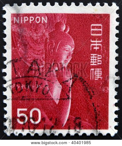 stamp printed in Japan shows Nyoirin Kannon in half-lotus position in Chuguji Temple Nara