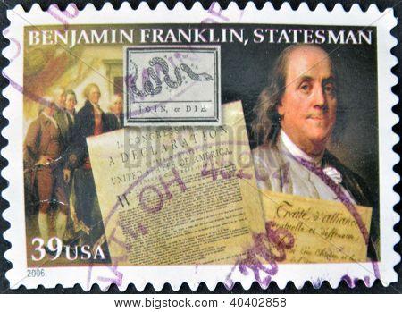 UNITED STATES OF AMERICA - CIRCA 2006: A stamp printed in USA shows Benjamin Franklin statesman circ