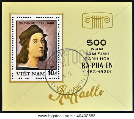 VIETNAM - CIRCA 1983: A stamp printed in Vietnam shows a reproduction of Raphael paintings - Self-Po