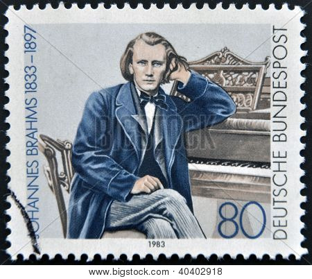 GERMANY - CIRCA 1983: a stamp printed in Germany shows Johannes Brahms Composer circa 1983