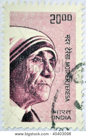 INDIA - CIRCA 2008: A stamp printed in India shows Mother Teresa of Calcutta circa 2008