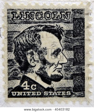 UNITED STATES OF AMERICA - CIRCA 1930: A stamp printed in USA shows Abraham Lincoln 16 President of