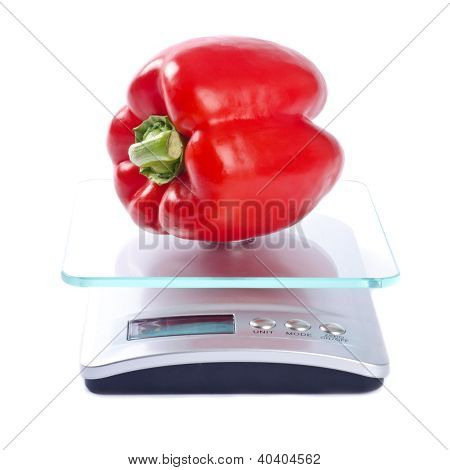 One Red Bell Pepper on an Electronic Kitchen Scale
